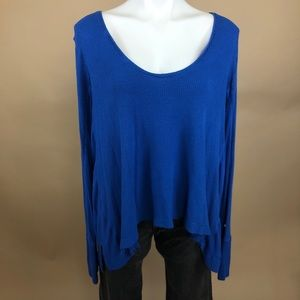 Free People We the Free Blue Thermal Long Sleeve L